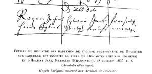 Baptism record of Francince, daughter of Helena Jans and Descartes. Deventer, July,1635.