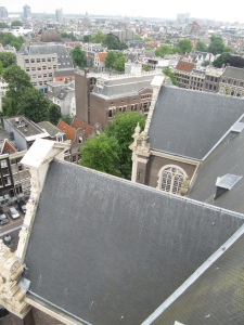 The red roof of Westermarkt 6, looking down from  Westerkerk tower.