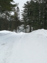 Colony Hall, snow drifts