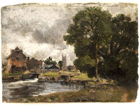 Constable oil sketch of Dedham Lock, 1816.