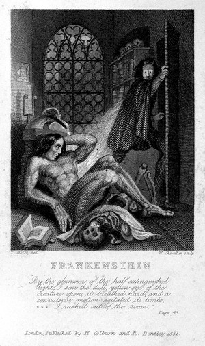 Frontispiece, 1831 edition, Frankenstein, Mary Shelley.