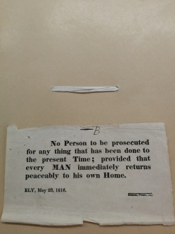 Handbill, Littleport riot. (Cambridgeshire Record Office).