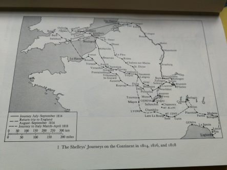 Shelleys, route across Europe, 1814, 1816, 1818.